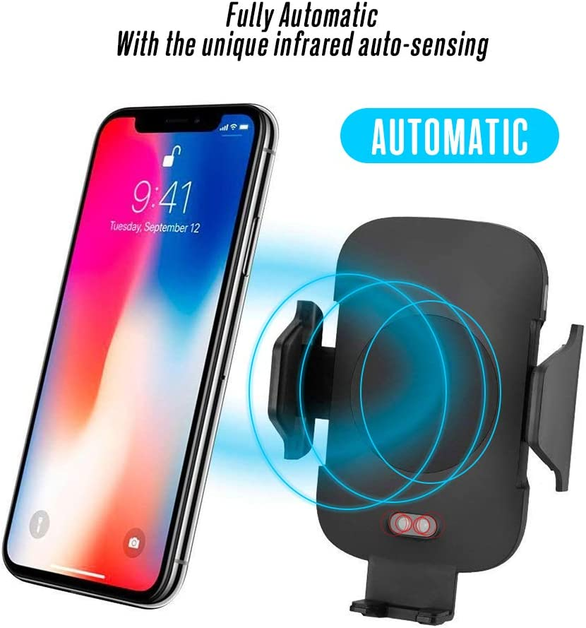 Rlsmoto Wireless Car Charger Automatic Qi 10W Wireless Fast Charging Air Vent Phone Holder