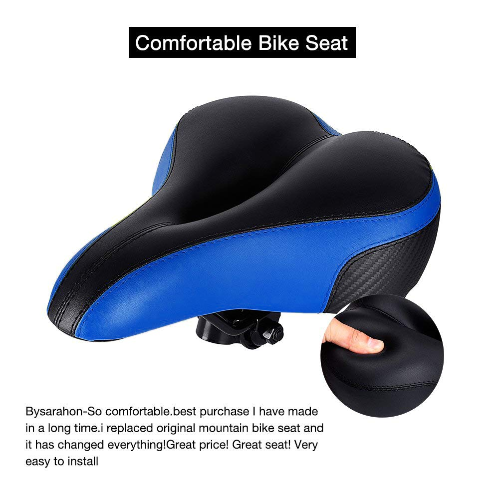 Bike Seat - TONBUX Oversized Bike Seat, Replacement Bicycle Seat - Taillight Reflective Tape Dual Shock Absorbing Ball Wide Gel Bicycle Saddle with Mounting Wrench by TONBUX (Image #2)