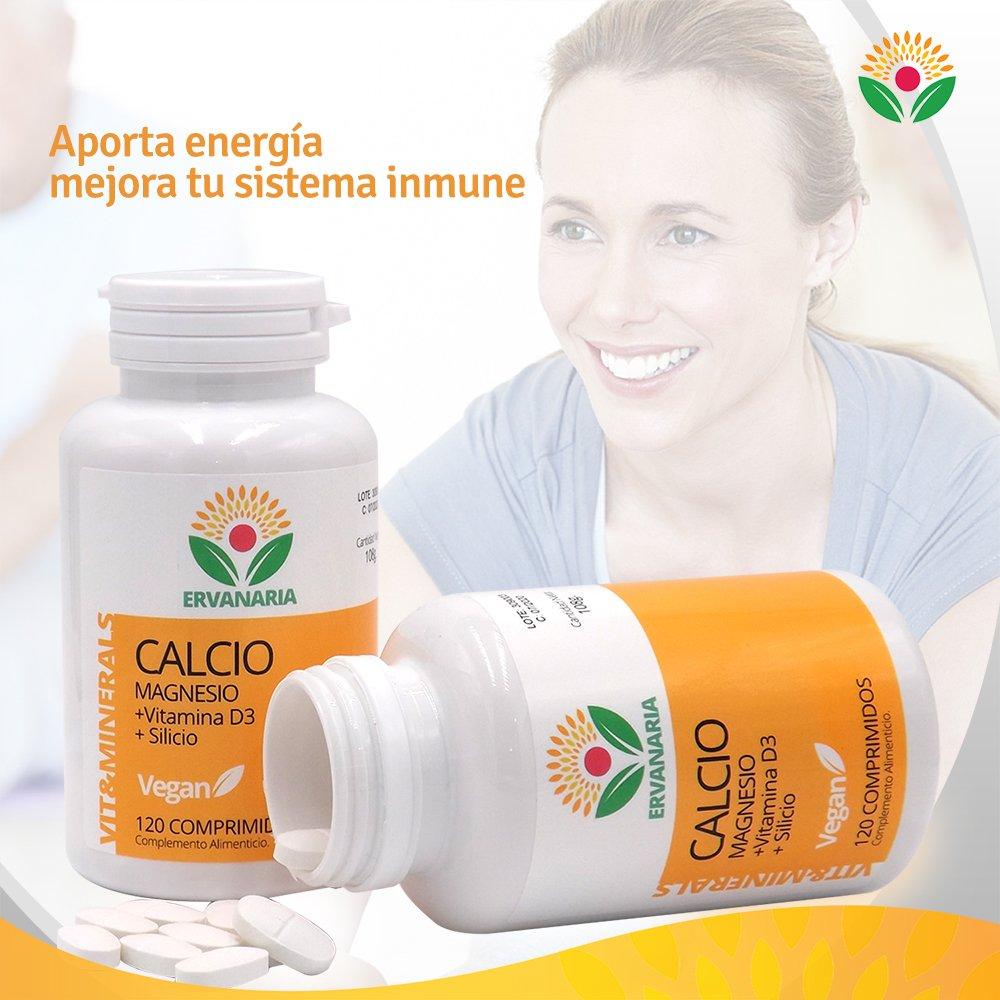 Calcio con Magnesio, Vitamina D3 y Silicio. 120 Cápsulas. Para la salud de huesos, dientes y articulaciones. Mejor estado de ánimo, combate el cansancio.
