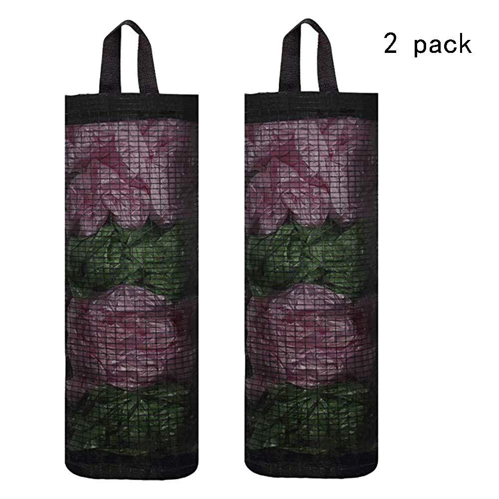 2PCS Plastic Bag Holder Bag Holder for Plastic Bags Folding Hanging Storage Bag Trash bags Holder Mesh Garbage Bag for Home and Kitchen Black