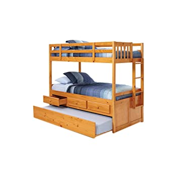 Amazon Com Twin Over Twin Bunk Bed With Trundle Kitchen Dining
