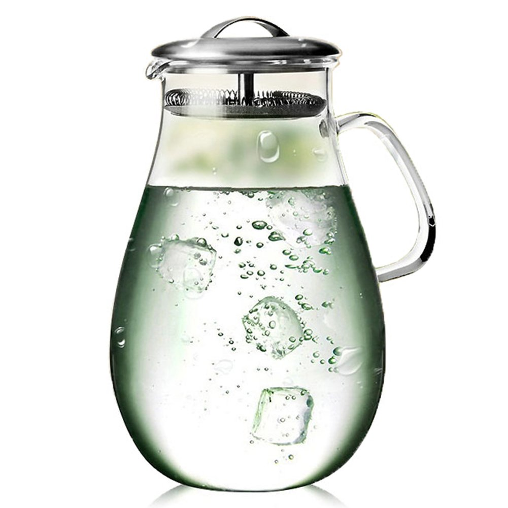 Artcome 65 Oz Large Heat Resistant Water Carafe with Stainless Steel Lid, Borosilicate Glass Beverage Pitcher with Lid by Artcome