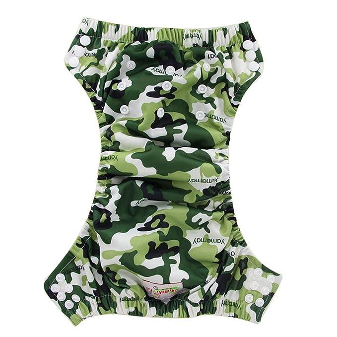 ohbabyka bebé formación pantalones de pañales reutilizables, bebé pañal pañales impermeable camouflage: Amazon.es: Bebé