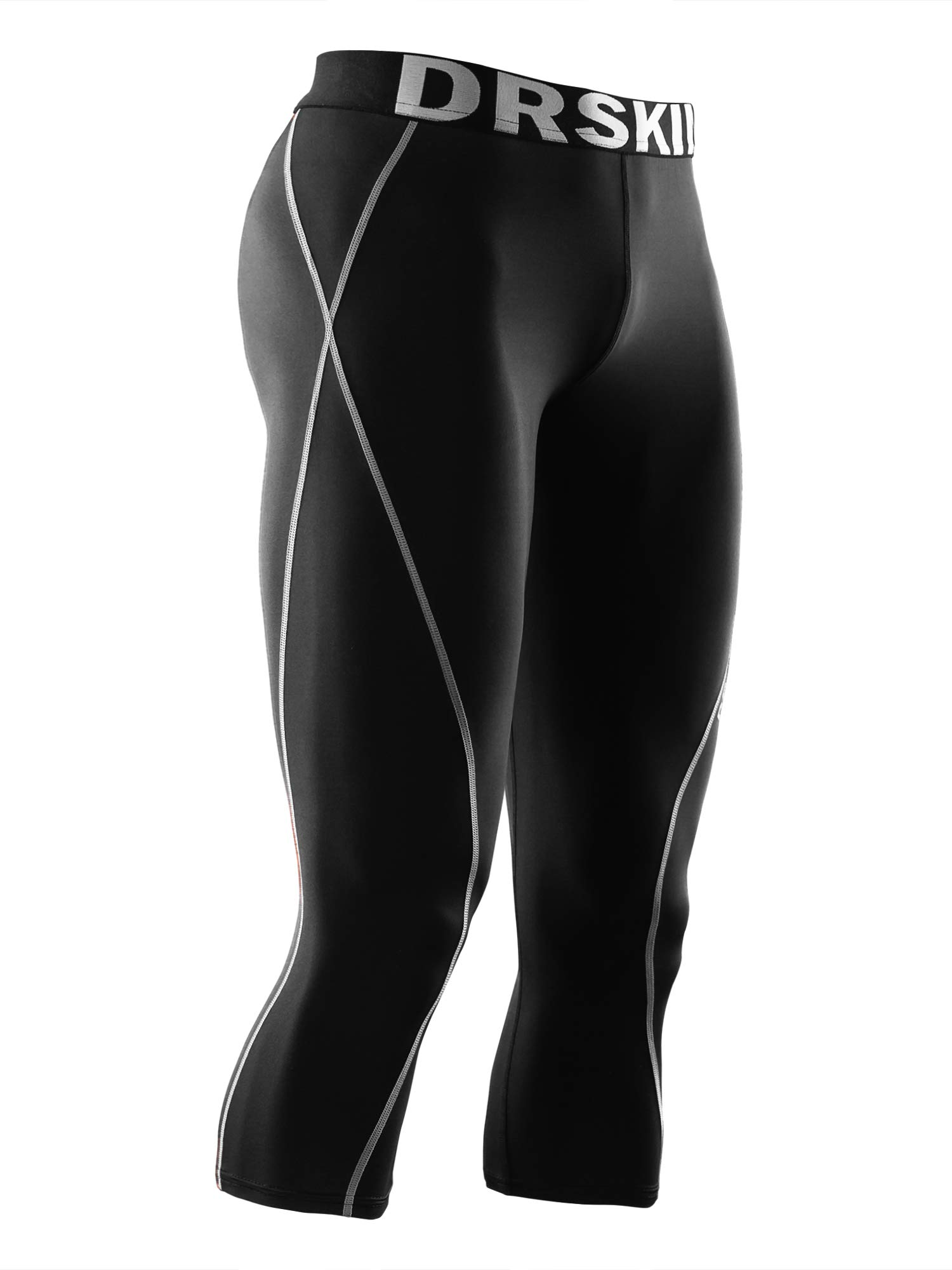DRSKIN] Tight 3/4 Compression Pants Base Layer Running Pants Men (S, BG801)