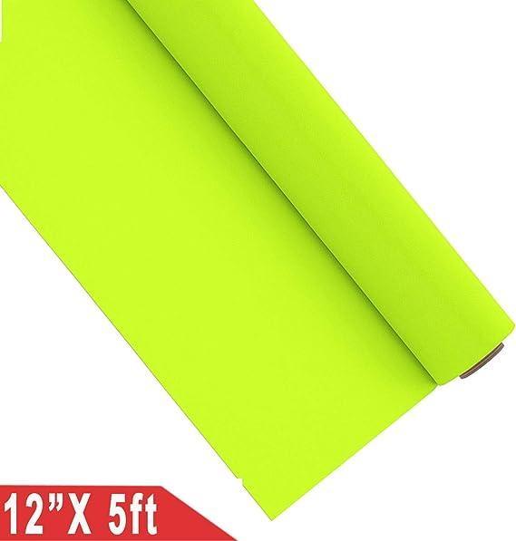 Vinilo termoadhesivo color neón para estampar camisetas, fácil de despegar, 30,5 x 152 cm, color amarillo fluorescente: Amazon.es: Oficina y papelería