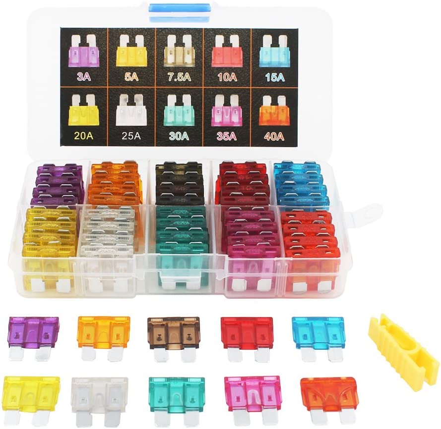 Gebildet CAR Fuse Set 80 PCS Assorted Standard Blade Fuse Used for Auto, Car, Truck, SUV, Home (3/5/7.5/10/15/20/25/30/35/40 AMP Replacement Fuse)