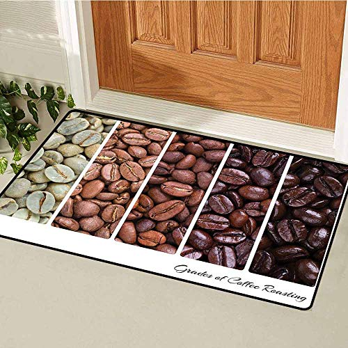 Gloria Johnson Coffee Welcome Door mat Vertical Banner Stages of Beans from Raw to Roasted Java Processing Addictive Door mat is odorless and Durable W15.7 x L23.6 Inch Ivory Brown White