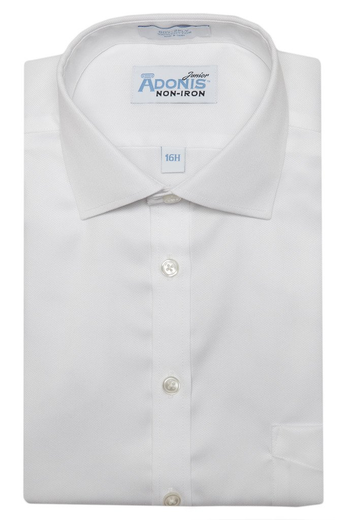 Adonis Shirts Inc. Husky Boys 100% Cotton Non Iron White-On-White 'Serenity' Button Cuff Dress Shirt