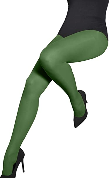 Classic Bottle Green Plain Microfiber Tights 40 Den Pantyhose Hosiery Aurellie