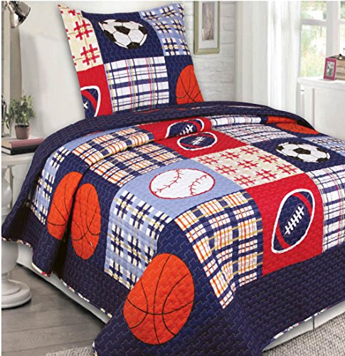 Mk Collection 2 Pc Bedspread Boys Sport Football Basketball Baseball Dark Blue (Twin Baseball Bedding)