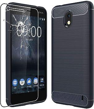ebestStar - Funda Compatible con Nokia Nokia 2 Carcasa Silicona Gel, Protección Diseño Fibra Carbono Ultra Slim Case, Azul Oscuro +Cristal Templado Pantalla [Aparato: 143.5 x71.3 x9.3mm, 5.0