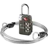 TSA-Accepted Luggage Locks with TravelSentry: 3-Dial Combination Lock + 48in Coated Steel Cable, The Smartest Safety…