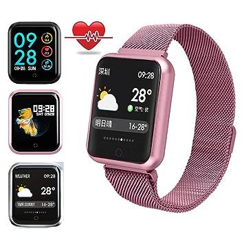 ... Reloj Inteligente Fitness Tracker con Monitor de Sueño, Podómetros, Cronómetros,Notificación de Mensaje para iOS y Android-Oro Rosa: Amazon.es: Jardín