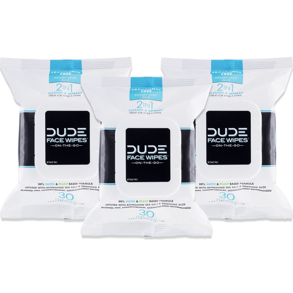 DUDE Face Wipes (3 Packs 30 Wipes) Unscented for Sensitive Skin Infused with Refreshing Sea Salt & Soothing Aloe, Moisturizing Face Cleansing Cloths for Men