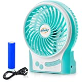 efluky 3 Speeds Mini USB Fan, Rechargeable Battery Fan with LED Light and 2200mAh Battery, Portable Fan Quiet for Office, Travel, Camping Fan, 4.5-Inch, Blue
