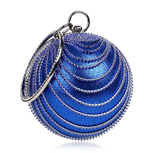 Prom Round Fashion Handbag Blue Suede Woman Evening Party Clutch Bag Ball n4XPw1q
