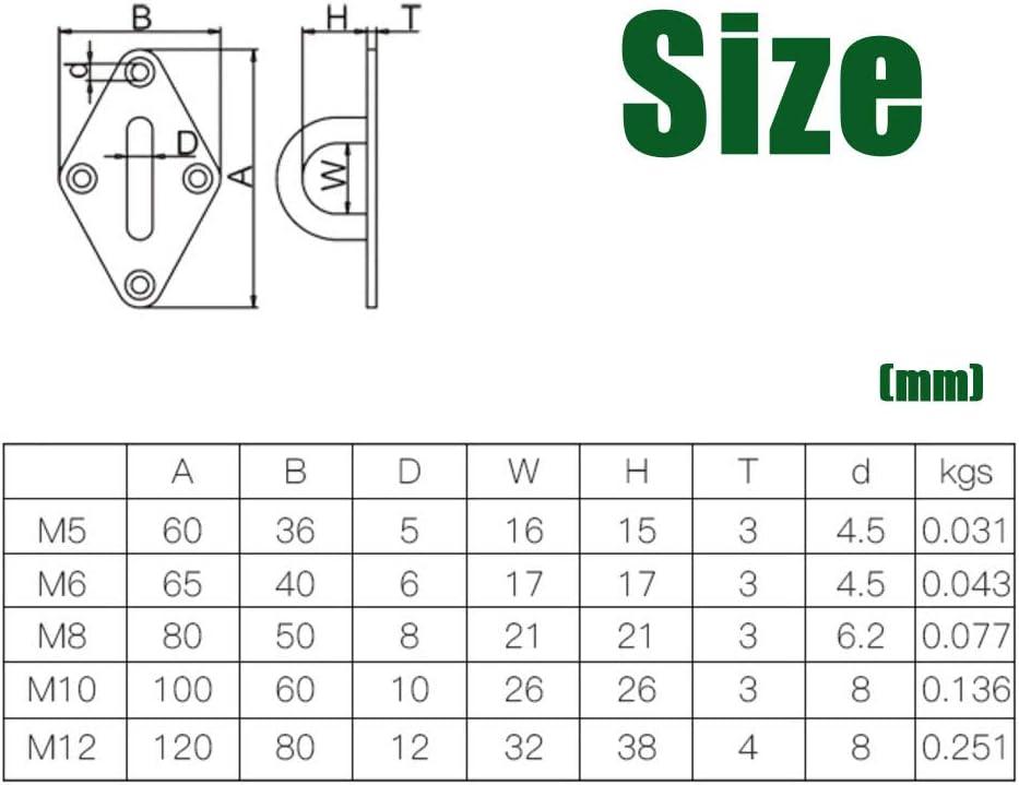 1Pc M12 Heavy Duty Pad Eye Plate U-Shaped Sail Shade Hardware Wall Ceiling Hammock Hooks Hanger for Swing Suspension Stainless Steel