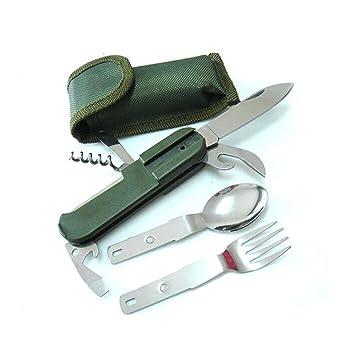 Herramientas de Acero para Supervivencia,Minkle Acampa de Múltiples Funciones de Artículos, Cubiertos Cuchara Cuchillo Tenedor: Amazon.es: Hogar