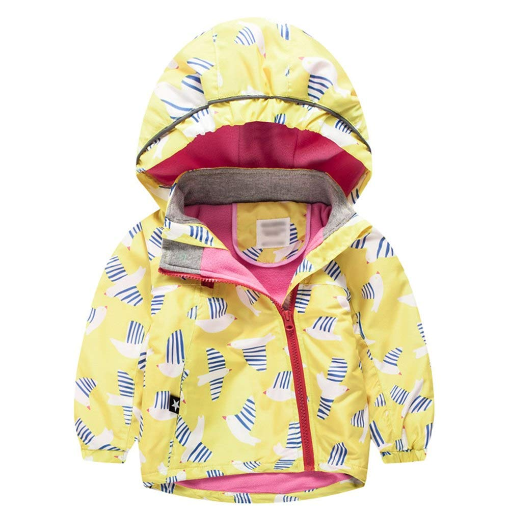 Happy childhood Baby Girls Fleece Hoodie Jacket Coat Warm Outdoor Windbreaker Waterproof Rain Jacket Floral Outfit