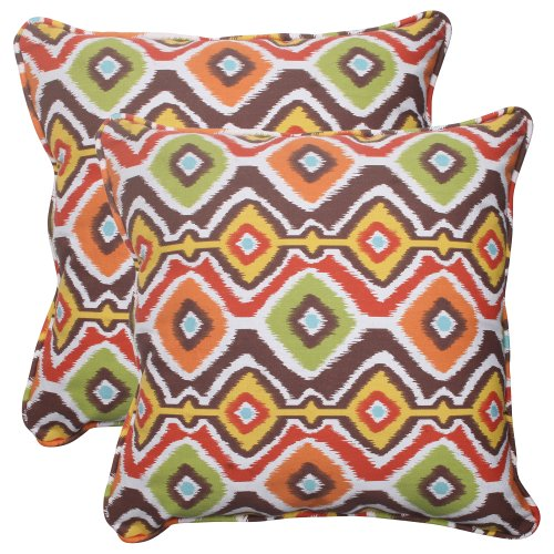 Pillow Perfect Indoor/Outdoor Mesa Corded Throw Pillow, 18.5-Inch, Brown, Set of 2