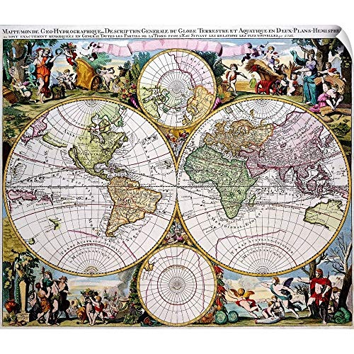 (CANVAS ON DEMAND Wall Peel Wall Art Print Entitled Double Hemisphere Polar Map in The 17th Century 60