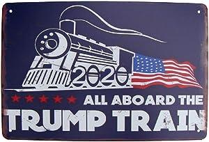TG,LLC Treasure Gurus All Aboard The Trump Train Metal 2020 Sign American Flag MAGA Bar Pub Garage Wall Decor