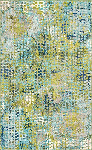 Unique Loom Chromatic Collection Modern Abstract Colorful Blue Green Area Rug (5' x 8') ()
