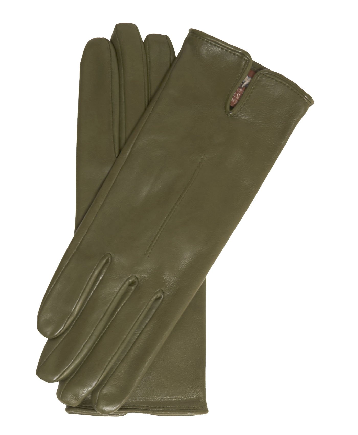 Fratelli Orsini Everyday Women's Italian Silk/Cashmere Lined Leather Gloves Size 6 1/2 Color Olive