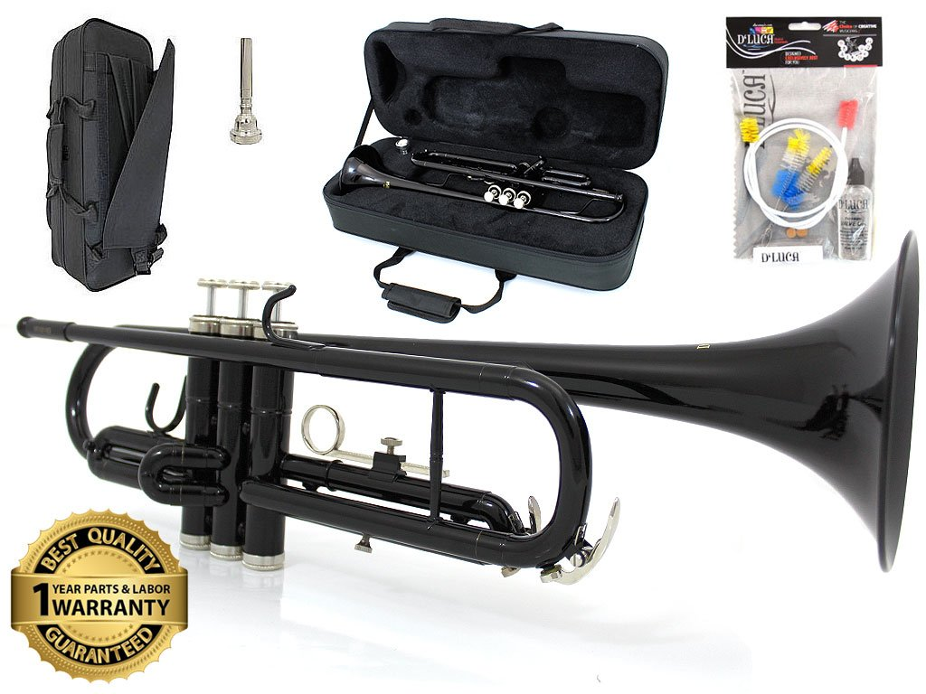 D'Luca 500BK 500 Series Standard Bb Trumpet with Professional Case, Cleaning Kit, Black