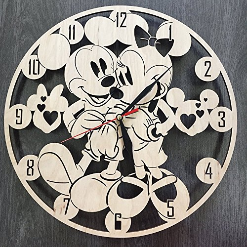 7ArtsStudio Mickey and Minnie Mouse Wall Clock Made of Wood – Perfect and Beautifully Cut – Decorate Your Home with Modern Art – Unique Gift for Him and Her – Size 12 Inches
