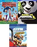 Panda Meatball Chipmunks 3 Pack Cartoon Favorites Cloudy with a Chance of Meatballs + Kung Fu 2 Animated Blu Ray + Alvin Road Chip awesome Family Triple movie Set