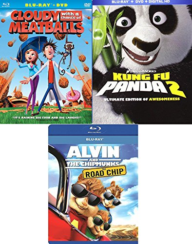 Panda Meatball Chipmunks 3 Pack Cartoon Favorites Cloudy with a Chance of Meatballs + Kung Fu 2 Animated Blu Ray + Alvin Road Chip awesome Family Triple movie ()