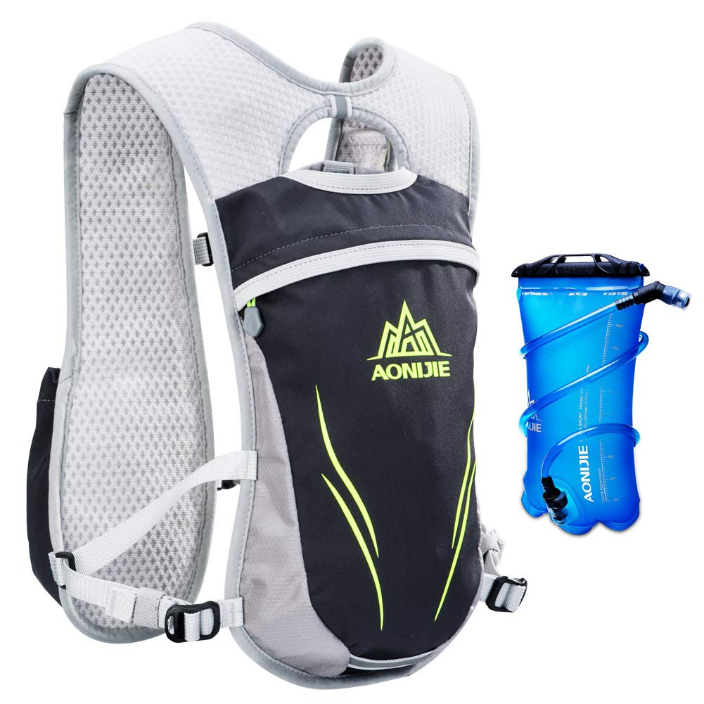 AONIJIE Running Hydration Vest for Hiking Cycling Hydration Backpack for Women and Men Lightweight Trail Running Backpack 5.5L (gray-2L) by AONIJIE (Image #1)