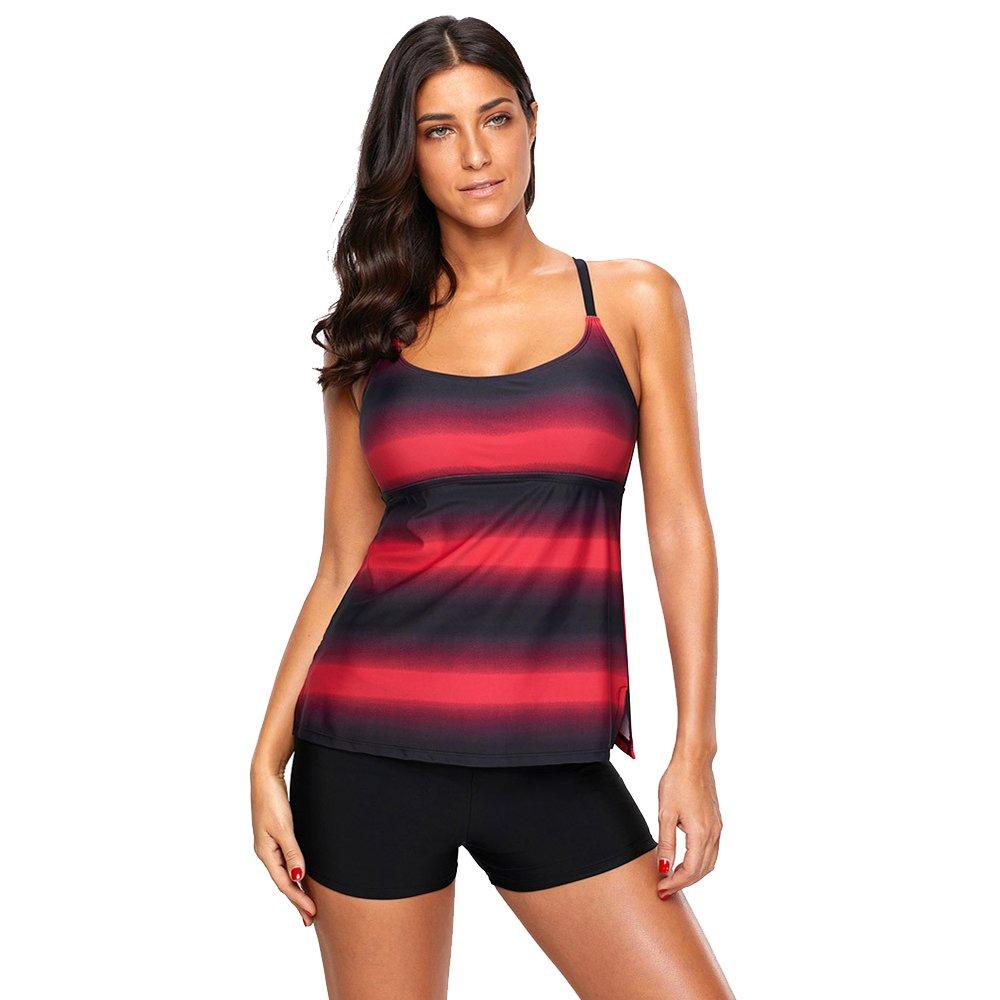 女性の 水着 ストライプ 印刷 ビキニ 保守的な ビーチ スパ 水着 分割 水着 (Color : Red, Size : L) B07F5HMNGW Large|Red