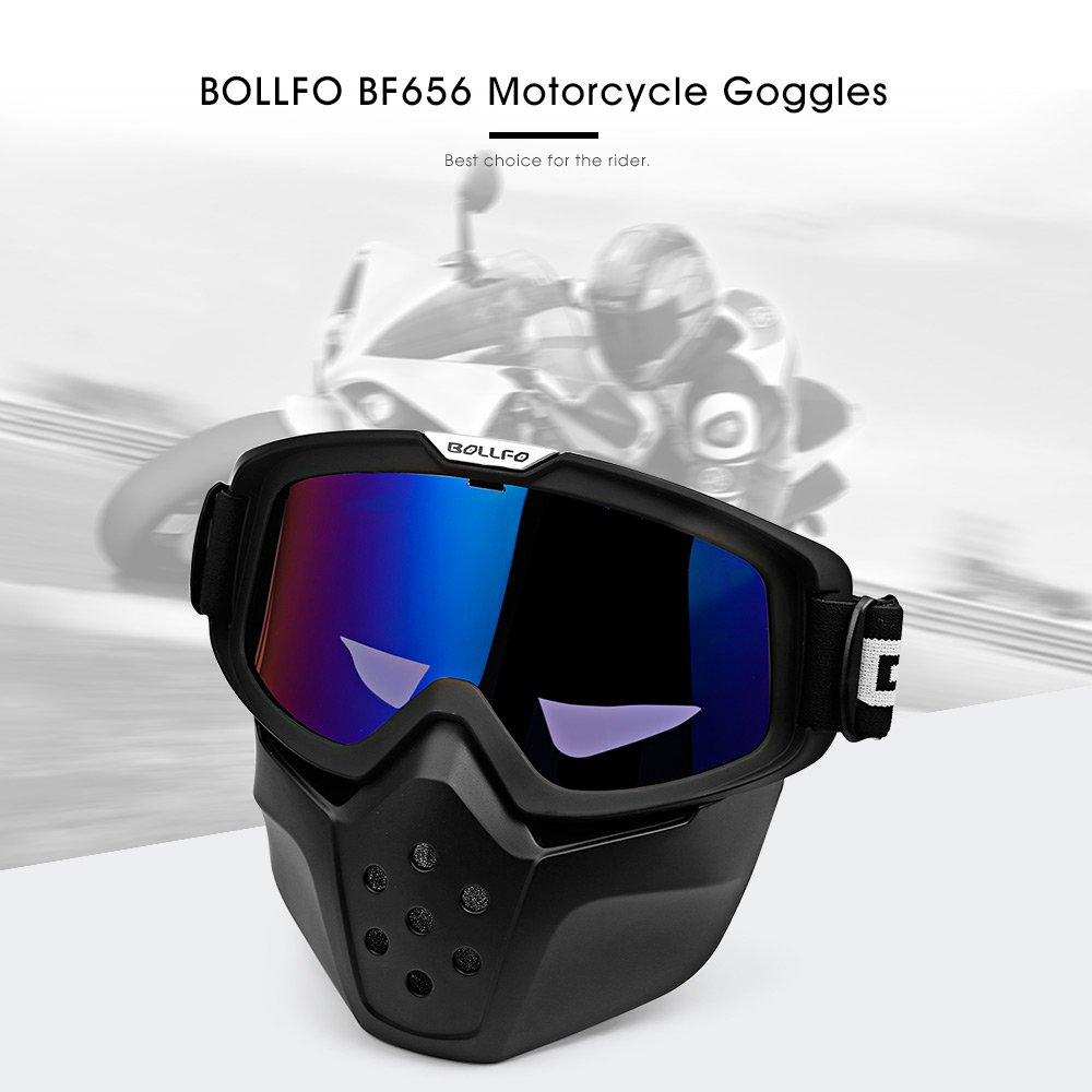 48bc843e7e BOLLFO BF656 Motorcycle Mask Goggles Detachable Windproof for Motocross  Outdoor Riding Skiing (Blue)  Amazon.co.uk  Car   Motorbike