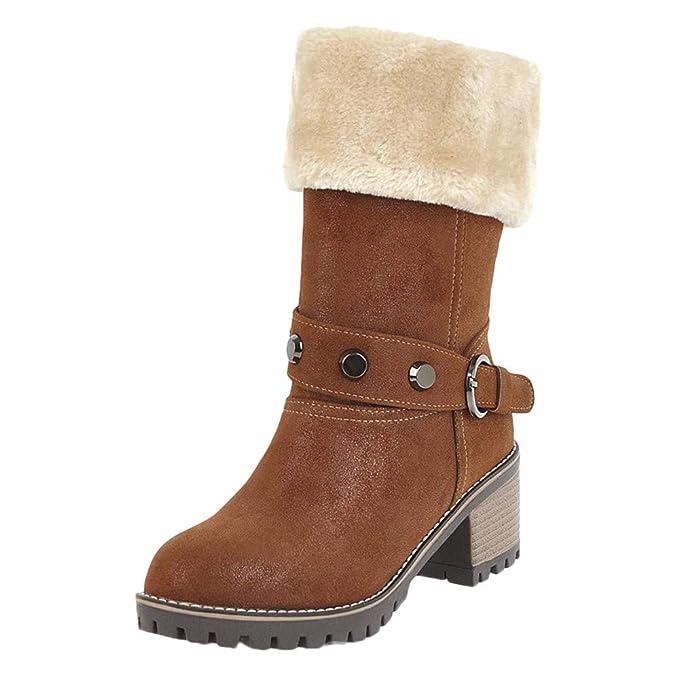 Botines Mujer Invierno OtoñO,Naturazy Botas Nieve Mujer CuñA Planas Calentar Zapatos Moda Casual Outdoor