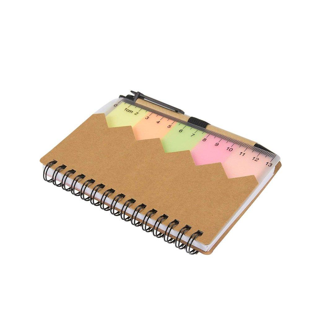 Notes Markers, Quaderno a spirale Note e penna adesive Quaderno multifunzionale Colore casuale Hemore