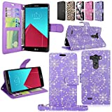LG G4 Case - Cellularvilla Diamond Glitter Sparking Pu Leather Wallet Flip Open Pocket Credit/id Card Slots/holder & Wrist Strap Case Cover for LG G4 (Purple Glitter)