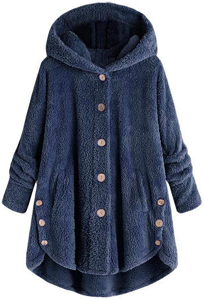 Redshop Coats,Fashion Women Button Coat Fluffy Tail Tops Hooded Pullover Loose Sweater Outwear