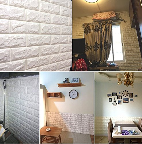 Wowall Home Decor 3D PE Foam Tile Sticker for Kitchen Backsplash Wall Panels Textured Design Art Tiles Wall Tile (White Kitchen Backsplash compare prices)