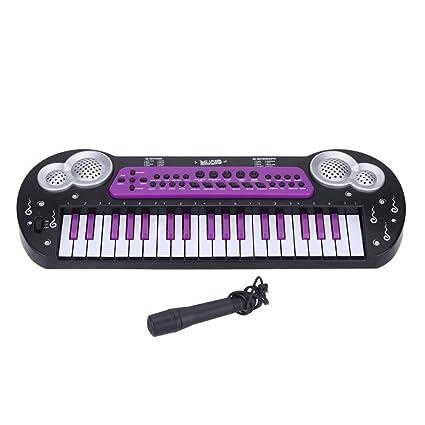 37 Teclas Multifuncional Electrónica Música del Teclado Organo Piano Electone con Micrófono de Juguete Para los