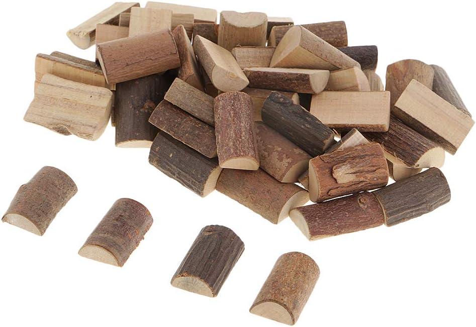 perfektchoice 50x Rustic Wood Half Cut Round Slice Wooden Blocks for Wood Crafts Supplies