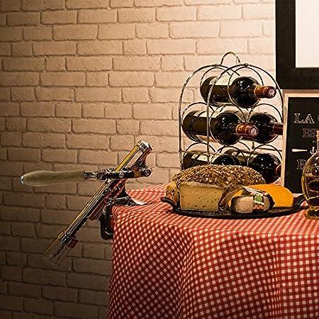 Totally Addict KV7167 - Sacacorchos para mostrador (Madera y Acero Inoxidable, 27 x 8 x 28 cm), Color Beige y Gris