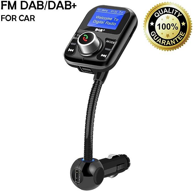 Coche Dab/Dab + Receptor EU Digital Radio Sintonizador FM Transmisor con Llamada de Teléfono Manos Libres Bluetooth Kit, 1.4