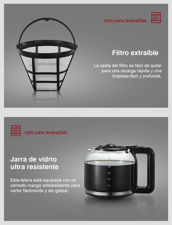 Yabano Cafetera Goteo, 1.5L(12 Tazas) Cafetera con Filtro ...