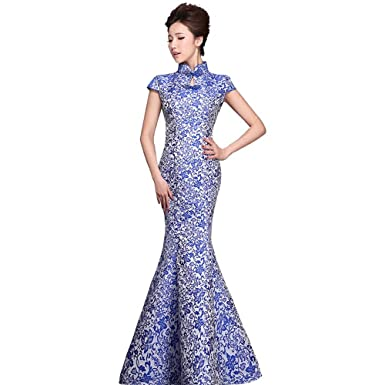 LEJY Womens Chinese Style Blue and White Gown Long Evening Dress Mermaid Prom Dress Blue and