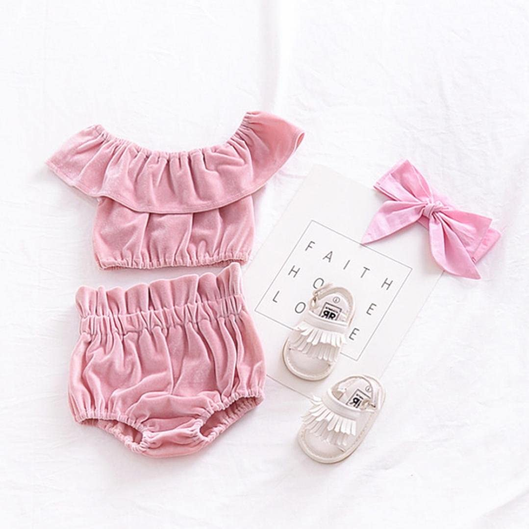 Toddler Baby Girl Solid Off Shoulder Sleeveless Velour Ruffle Shirt Tops Shorts Outfit Clothes