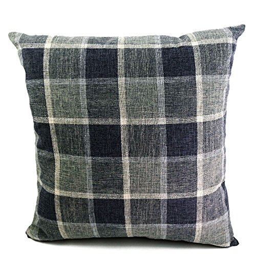 icheesday Cotton Linen Pillow Case Tartan Decorative Cushion Cover Pillowcase Cushion Case With Invisible Zipper(20x20 inch, (Tartan Pillow)