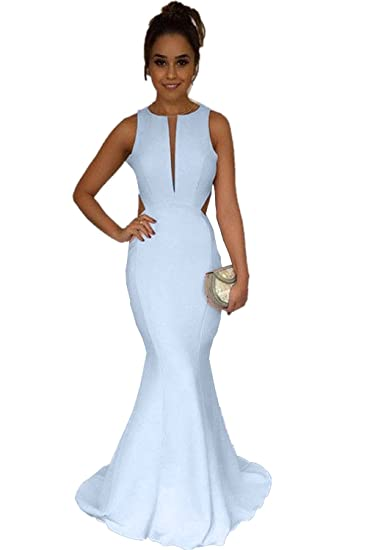 Promworld Womens Open Back Mermaid Prom Dresses Long 2018 Ice Blue US2