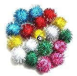 TECH-P® Arts Craft Pom Poms Glitter Poms Sparkle Balls– Assorted Color (1.3 Inch,30mm- 100 Pack)